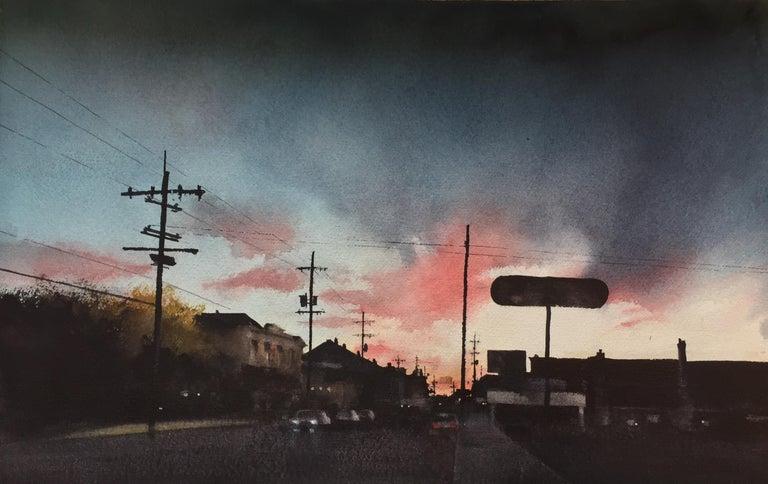 "Sean Friloux, ""Magazine Street Sunset"" urban landscape watercolor on paper - Painting by Sean Friloux"