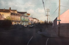 "Sean Friloux, ""Oak Street"" urban landscape watercolor on paper"