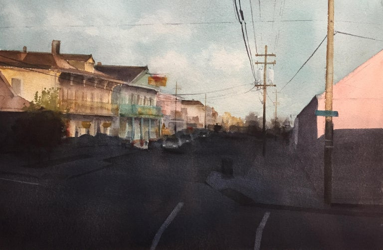 "Sean Friloux, ""Oak Street"" urban landscape watercolor on paper  - Painting by Sean Friloux"