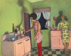 "Cara DeAngelis, ""Incident #2"" realist pop art, crayon drawing on paper"