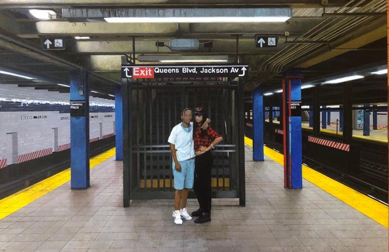 "David Desimone Figurative Painting - DAVID DESIMONE, ""BFFs"" realist NYC subway oil painting of 2 figures"