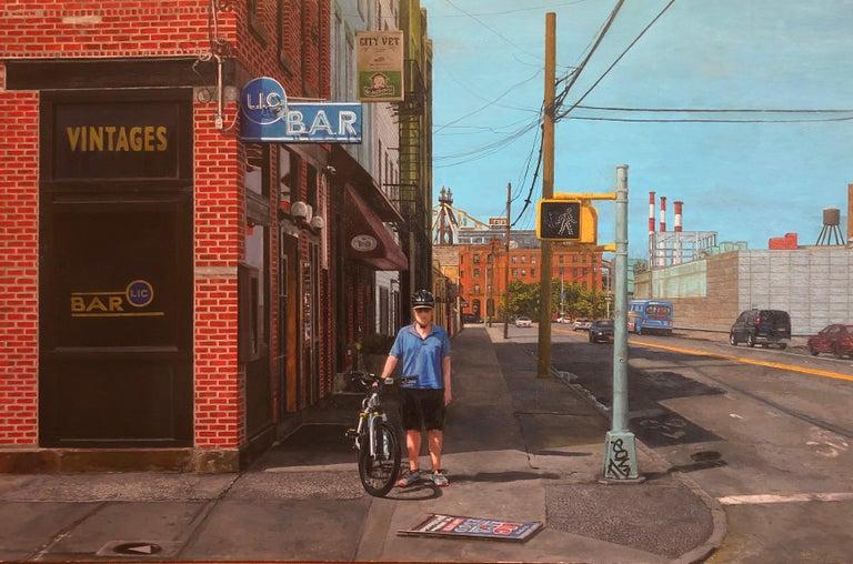 "David Desimone Figurative Painting - DAVID DESIMONE, ""LIC Bar"" oil on panel, American realist NYC urban landscape"