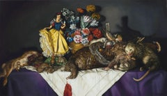 "CARA DEANGELIS, ""Snow White w Laid Table of Road Kill"" realist oil still life"