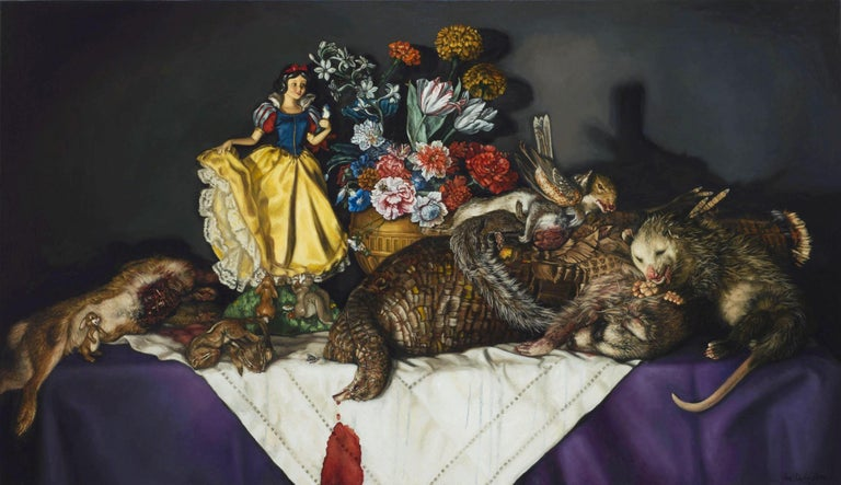 """Cara DeAngelis Still-Life Painting - CARA DEANGELIS, """"Snow White w Laid Table of Road Kill"""" realist oil still life"""