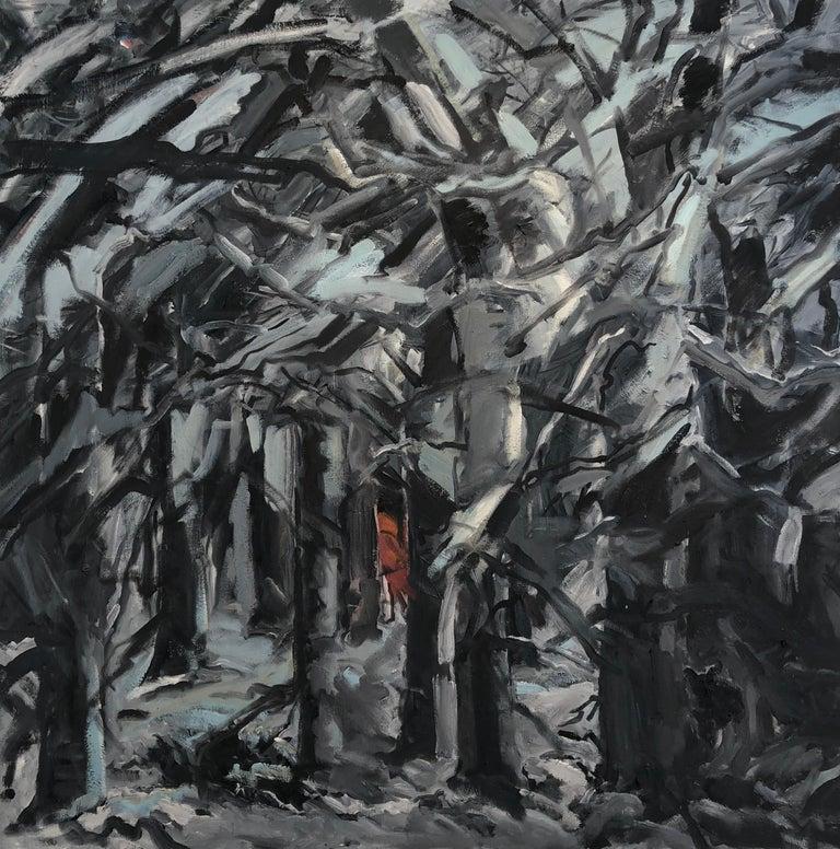 "cornelia foss Landscape Painting - Cornelia Foss, ""Little Red"", oil on canvas, expressionist landscape dark woods"