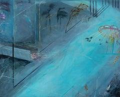 "Jennifer Cross ""Non Finito"" blue mystical landscape oil painting on wood"