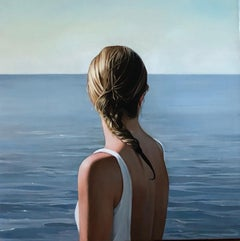 "ELISABETH MCBRIEN ""Looking Out"" realist oil painting portrait of a woman water"