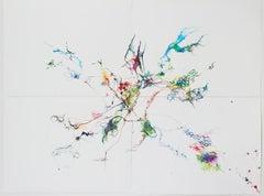 "IRINA ALIMANESTIANU ""Dandelion Confetti"" contemporary colorful abstract on paper"