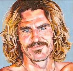 "LETTY NOWAK ""Aamion Goodwin"" contemporary large surfer portrait oil on canvas"