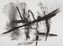 """PETER WISE """"Untitled"""" contemporary charcoal black & white abstract drawing"""