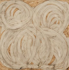 Claudia Aronow, Untitled, large abstract oil painting on linen in ivory and tan