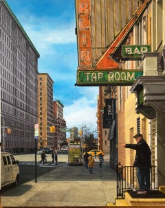 "DAVID DESIMONE ""Tap Room"" American realist NYC urban cityscape oil painting"