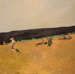 "CORNELIA FOSS ""Beach People"" oil on canvas beach painting w figures"