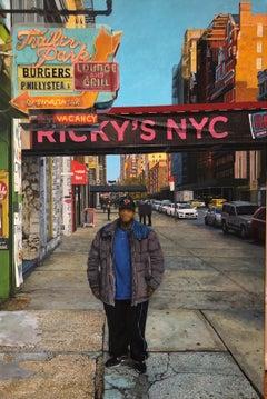 DAVID DESIMONE, American realist oil painting of NYC urban streetscape w figure