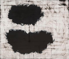 """CLAUDIA ARONOW """"Black Jumping Beans"""" black & white abstract oil on linen"""
