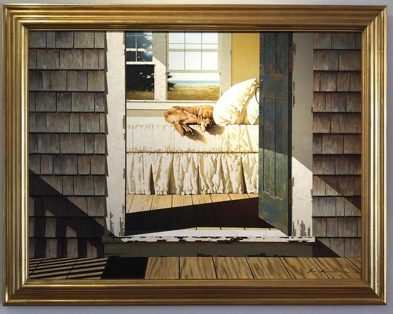 Sleeping Dog on Bed - Painting by Zhen-Huan Lu