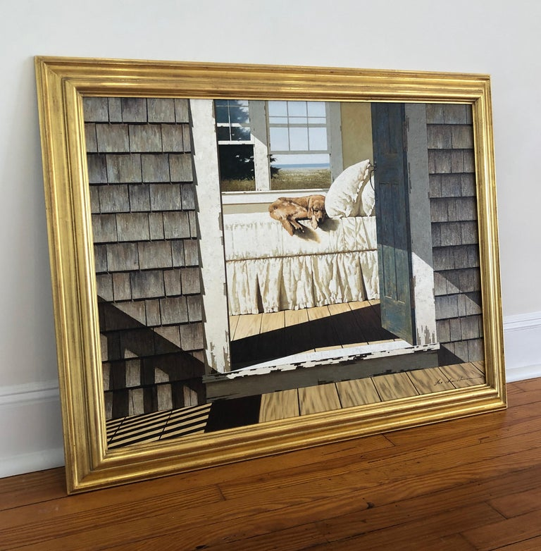 Realist oil painting of dog sleeping on bed as seen through doorway. Signed lower right