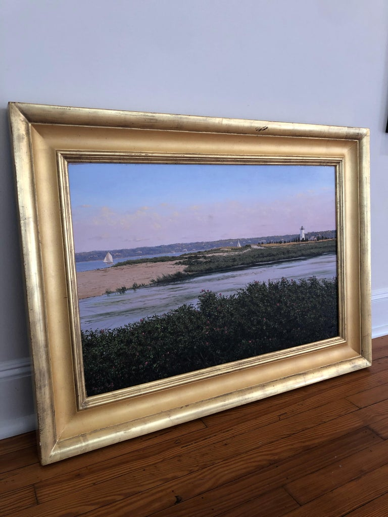 View of Martha's Vineyard Lighthouse, c. late 1990s.  Oil painting by acclaimed New England artist, Sergio Roffo. Framed in traditional gold frame. Unframed dimensions 24 x 36 inches, framed dimension 33 1/2 x 45 1/2 inches.