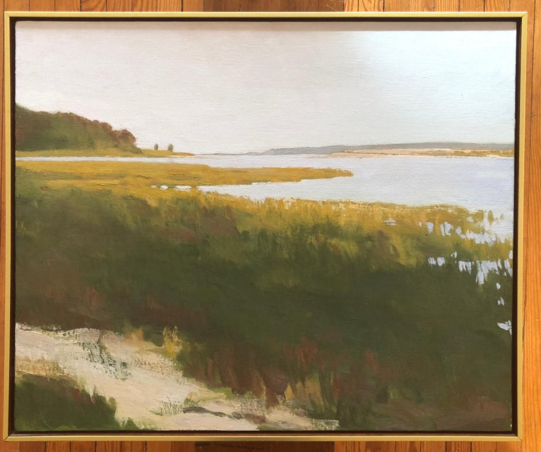 Terry Elkins, landscape oil painting with water view of