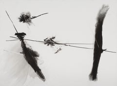 """PETER WISE """"Untitled"""" abstract black & white charcoal drawing on paper"""