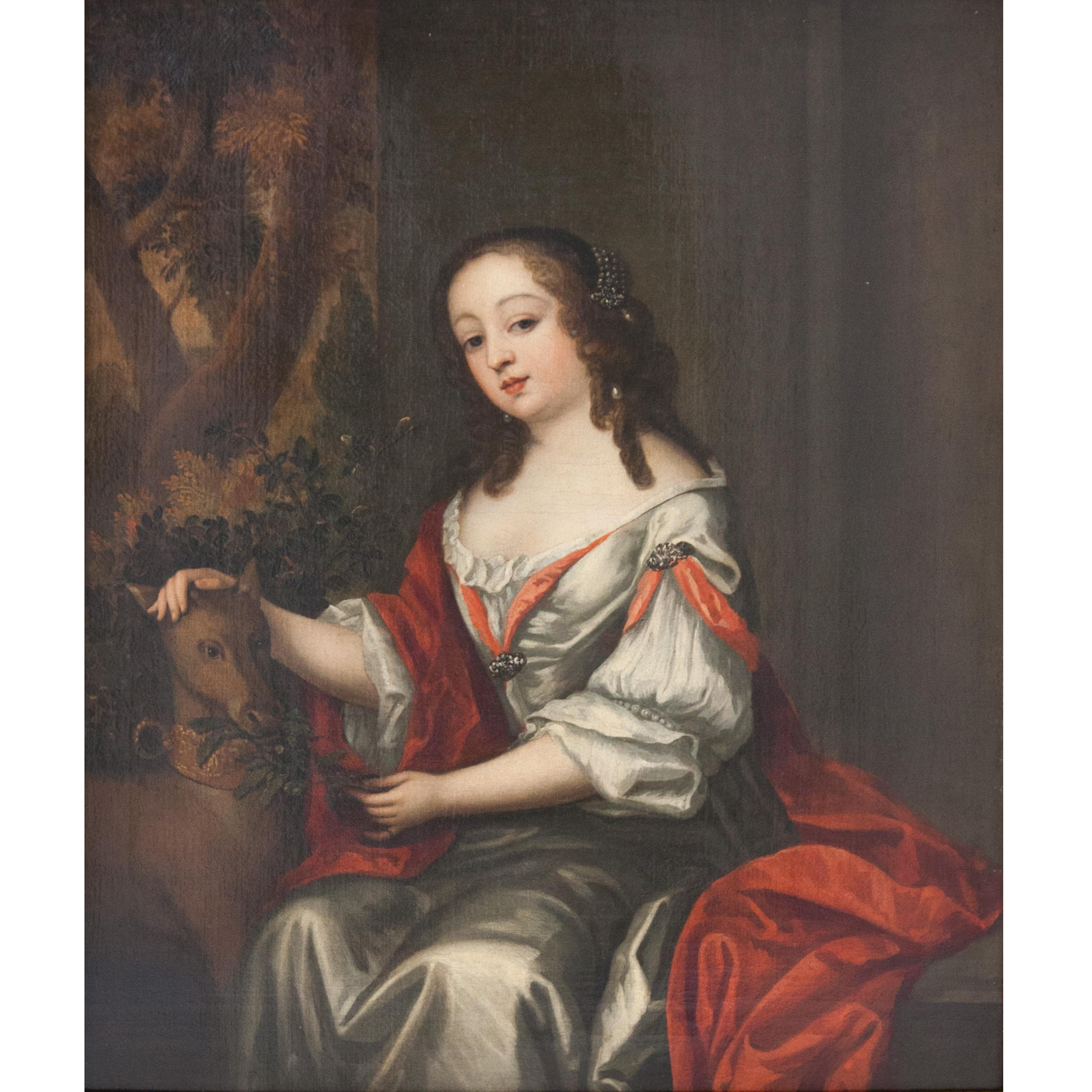 Distinguished Lady with Dog, Oil on Canvas, Early 18th C.