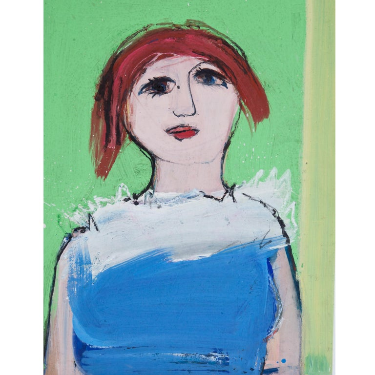 Expressionist Portrait of a Girl, circa 1968, Josef Steiner (1899-1977) Oil Wood - Painting by Josef Steiner