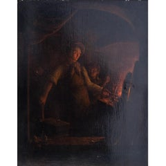 In the Smithy - 19th Century, Figurative,Oil Painting on Wood, Blacksmith, Kiers