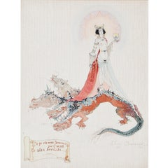 Jenny Samanova (XIX-XX), Woman on Dragon, dated 1929, Paper behind Glass
