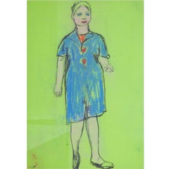Josef Steiner (1899-1977), Woman in blue Dress, around 1955, Wax Crayon and Ink