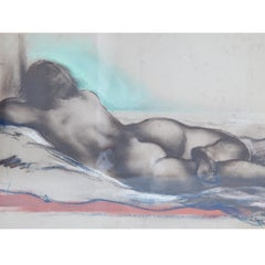 Josef Steiner (1899-1977), Lying Female Nude on Divan, 1944, Mixed Technique