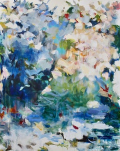 Sylvan Cascade, abstract expressionist, mixed media, Maria Burtis