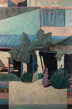 Blue Ojai, figurative, oil on canvas, framed, architectural