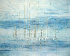 Into the Wind, encaustic, topographical, mixed media, blue, map