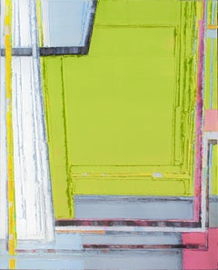 Super Spatial 10, abstract, oil on canvas, impasto, green, pink, angular