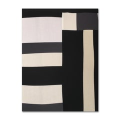 No Spoken Word, textile, cotton, patchwork, geometric abstraction, black, white