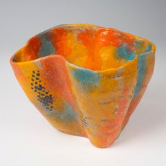 Untitled-  Bright colored orange and blue functional vessel by Marc Cohen