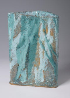 Untitled-  Stoneware vessel glossy green and white glazes by Marc Cohen