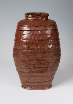 Untitled - Deep reddish brown glazed vessel functional sculpture by Marc Cohen