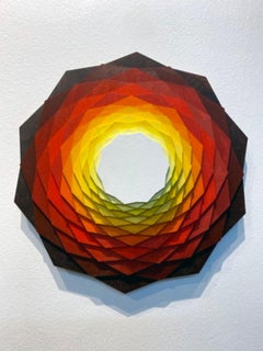 Photosphere, Abstract Geometric Original Painting and Wall sculpture