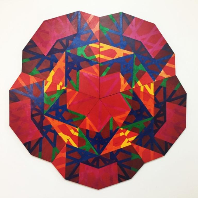 Acrylic on Lasercut wood 45 x 45 x 2 in (114.3 x 114.3 x 5.08 cm)  Christine Romanell was born in Paterson, NJ. Her work focuses on aperiodic patterns as they relate to the underlying structures of reality. She sets up systems of interference that