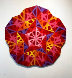 Setaareh Do, colorful abstract geometric wall sculpture star shaped center
