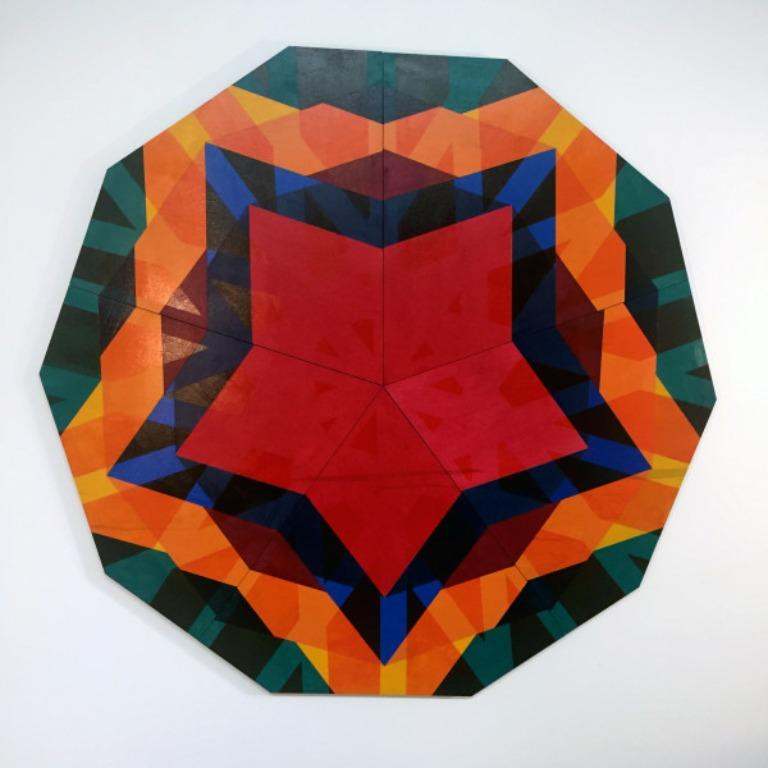 Taara, abstract geometric wall sculpture by Christine Romanell