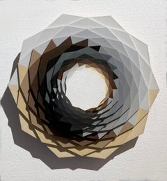 Twist, Abstract geometrical wall sculpture by Christine Romanell