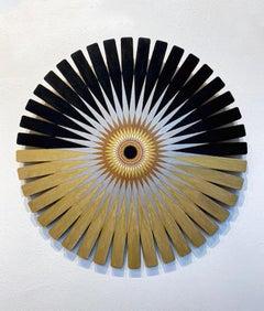Half Burst , Black Gold Starburst, Original Geometric Wall Sculpture, Romanell