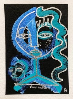 Love One Another, Blue, teal acrylic & chrome ink on paper by Alice Mizrachi