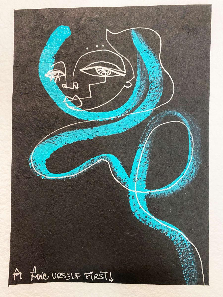Love Urself First, acrylic & chrome ink on watercolor paper by Alice Mizrachi
