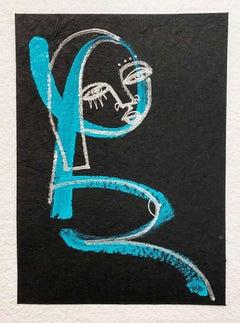The Gaze of a Womxn, Blue acrylic & chrome ink on paper by Alice Mizrachi