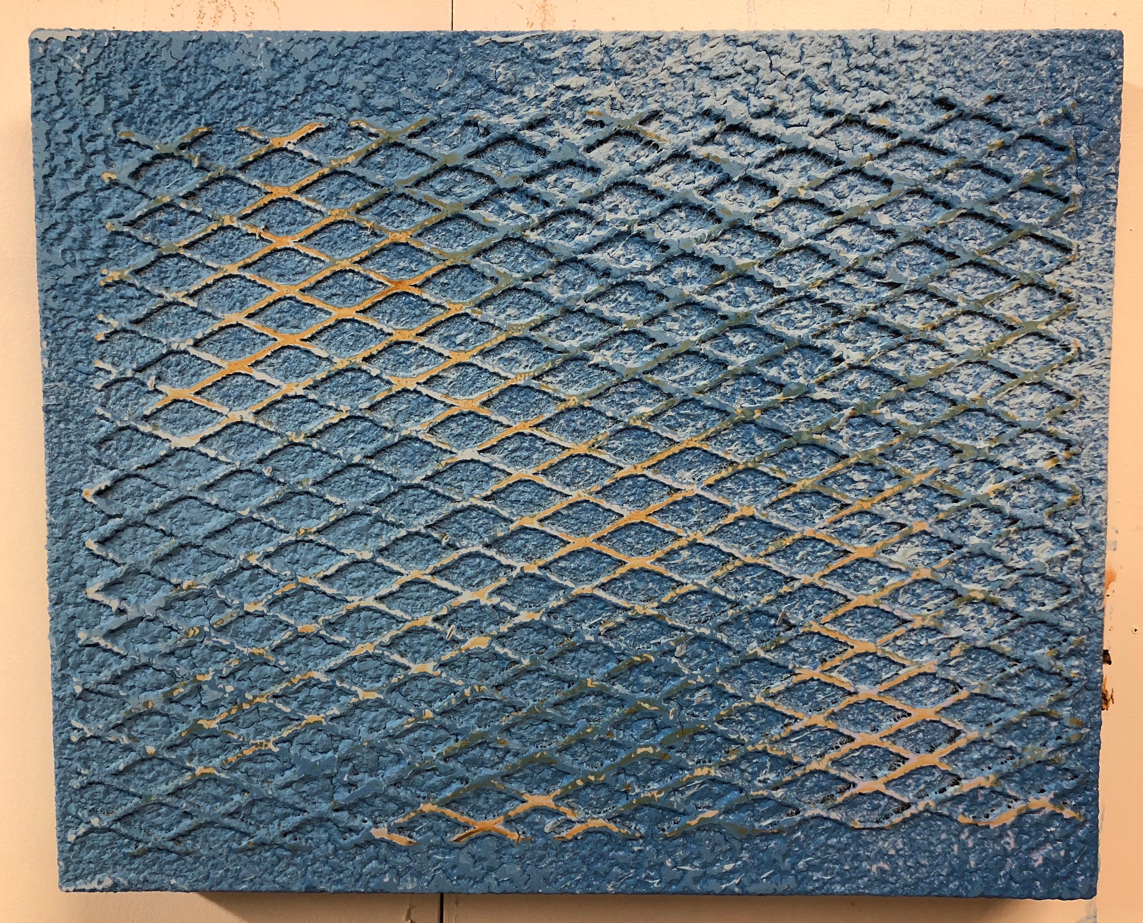 Hard Blue, mixed media by Joel Blenz