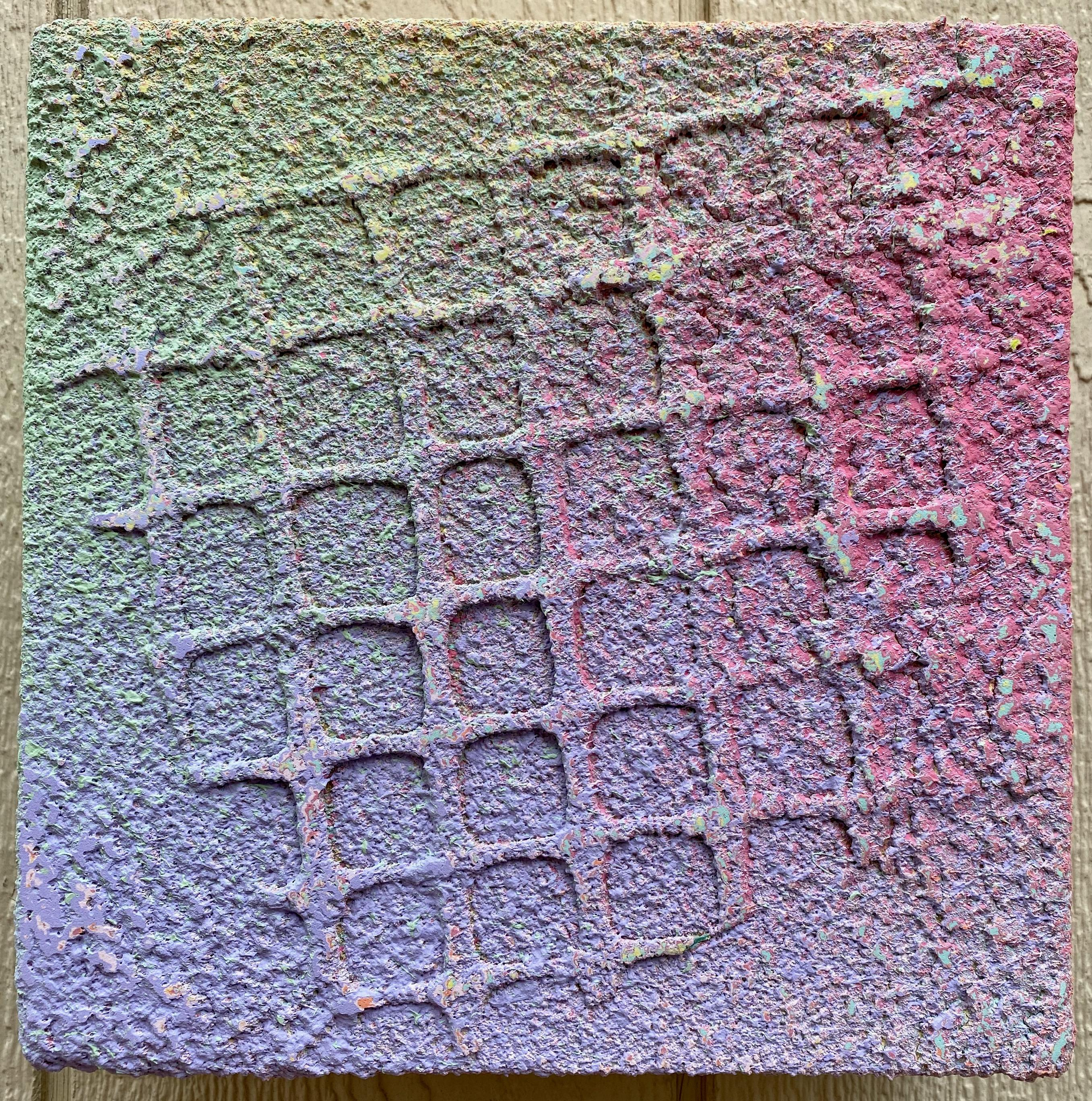 Pastel, small square abstract painting, mixed media by Joel Blenz