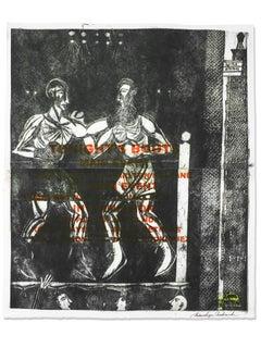 Tonight's Bout, Mitsushige Nishiwaki, Boxing Intaglio on Paper, 2016